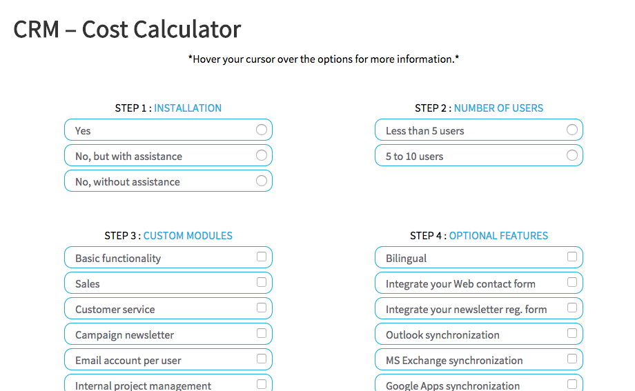 crm implementation calculator